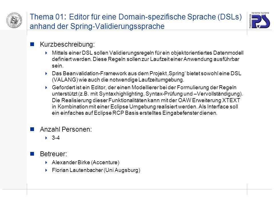 Thema 01: Editor für eine Domain-spezifische Sprache (DSLs) anhand der Spring-Validierungssprache