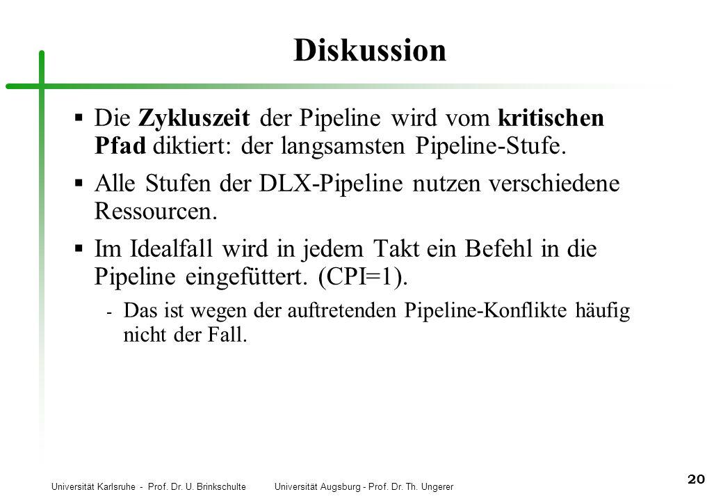 Diskussion Die Zykluszeit der Pipeline wird vom kritischen Pfad diktiert: der langsamsten Pipeline-Stufe.