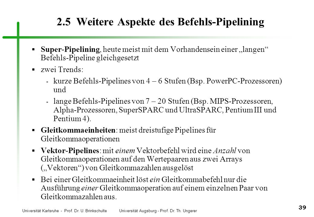 2.5 Weitere Aspekte des Befehls-Pipelining
