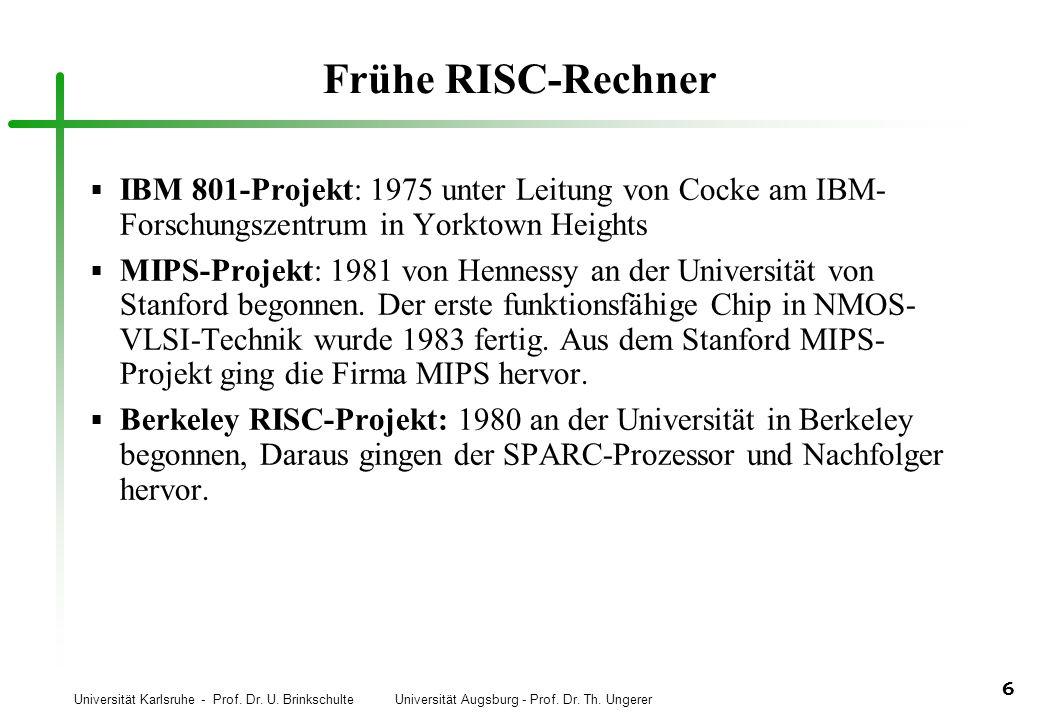 Frühe RISC-Rechner IBM 801-Projekt: 1975 unter Leitung von Cocke am IBM-Forschungszentrum in Yorktown Heights.