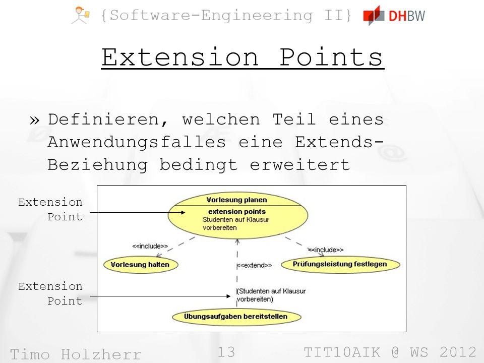 Extension Points Definieren, welchen Teil eines Anwendungsfalles eine Extends-Beziehung bedingt erweitert.