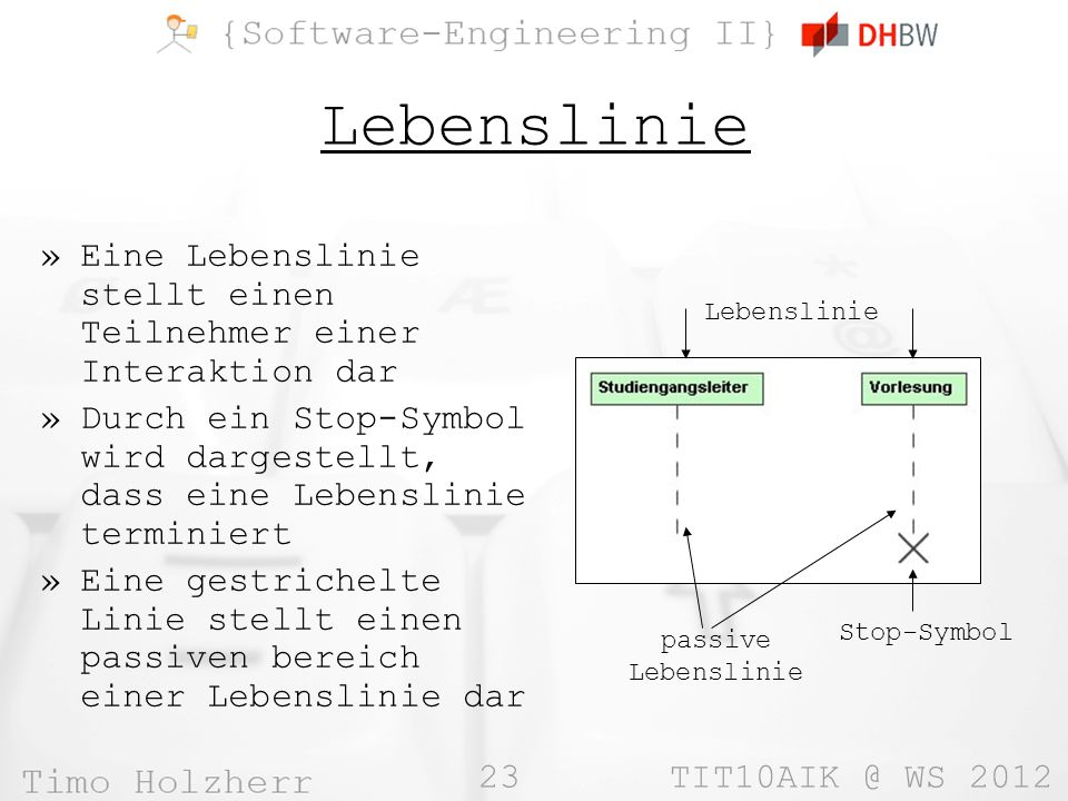 Lebenslinie Eine Lebenslinie stellt einen Teilnehmer einer Interaktion dar. Durch ein Stop-Symbol wird dargestellt, dass eine Lebenslinie terminiert.