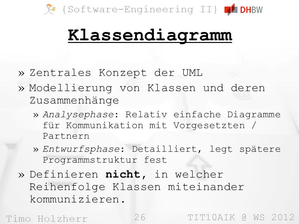 Klassendiagramm Zentrales Konzept der UML
