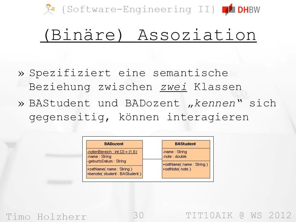 (Binäre) Assoziation Spezifiziert eine semantische Beziehung zwischen zwei Klassen.