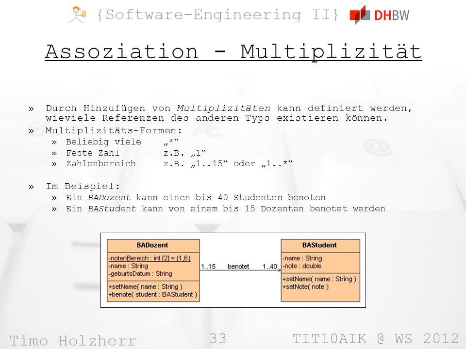 Assoziation - Multiplizität