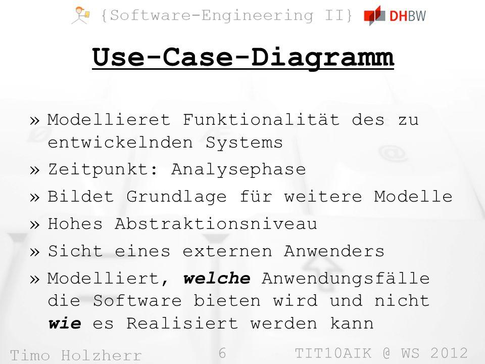 Use-Case-Diagramm Modellieret Funktionalität des zu entwickelnden Systems. Zeitpunkt: Analysephase.
