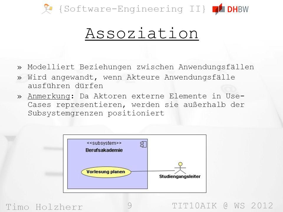 Assoziation Modelliert Beziehungen zwischen Anwendungsfällen