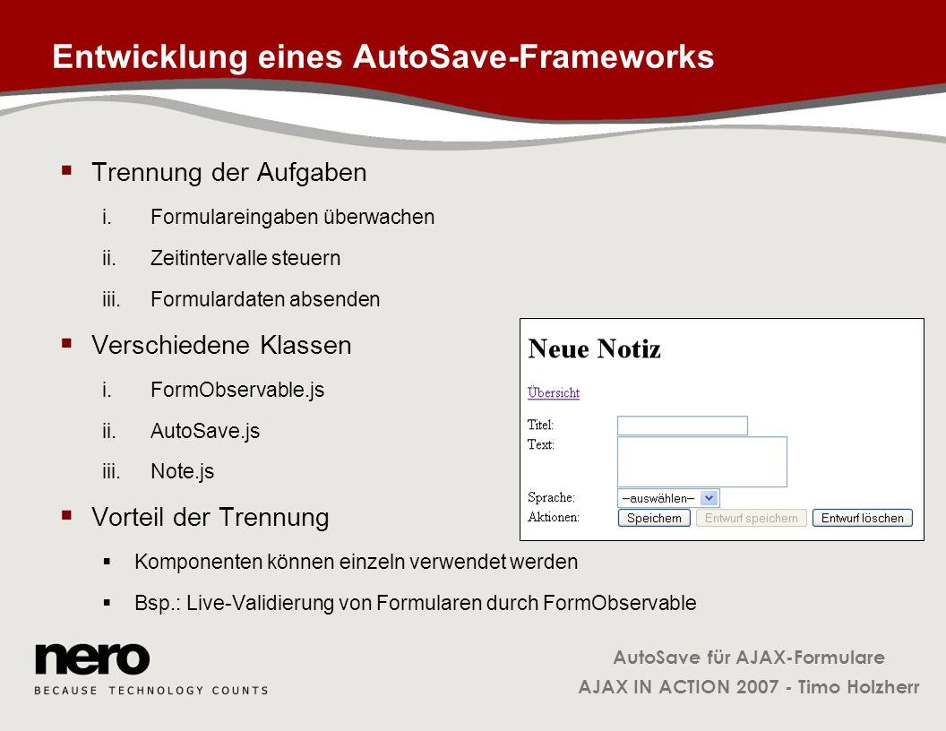 Entwicklung eines AutoSave-Frameworks