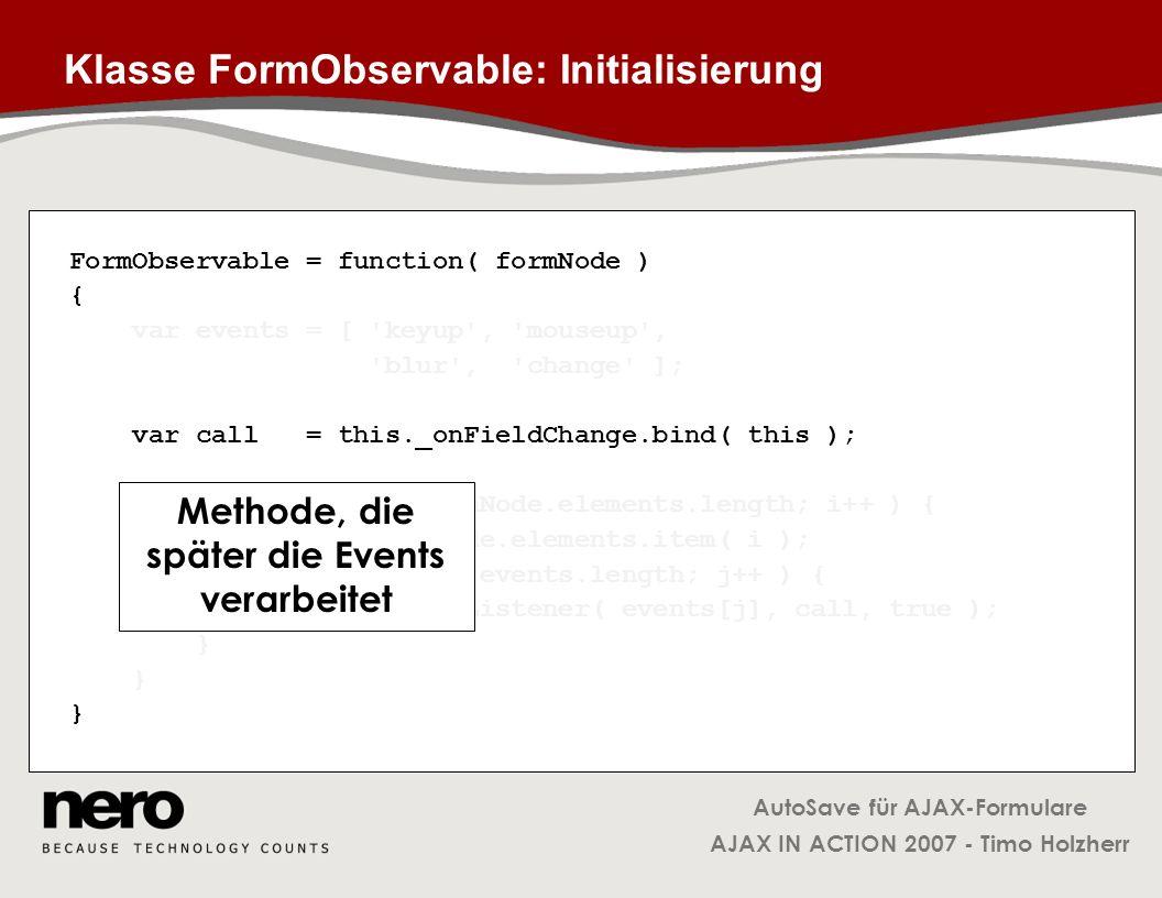 Klasse FormObservable: Initialisierung