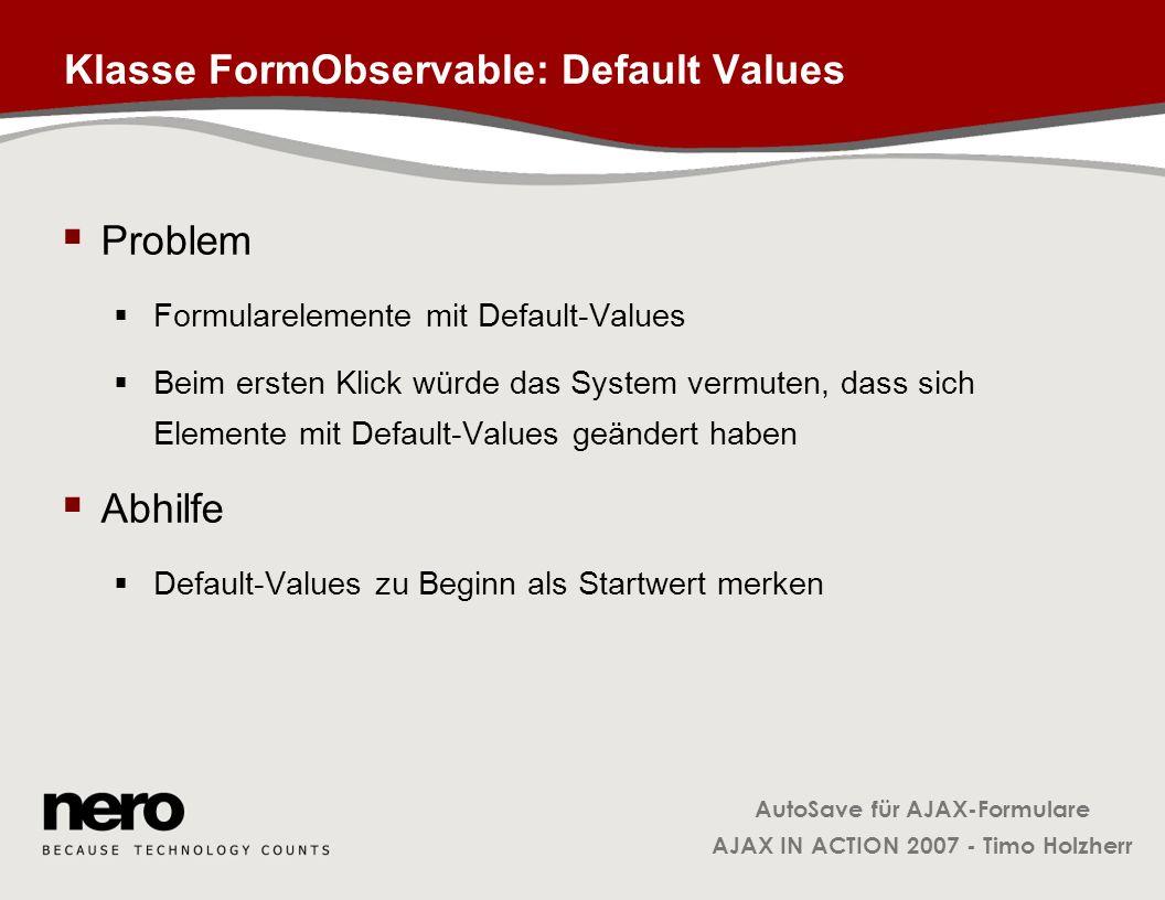 Klasse FormObservable: Default Values