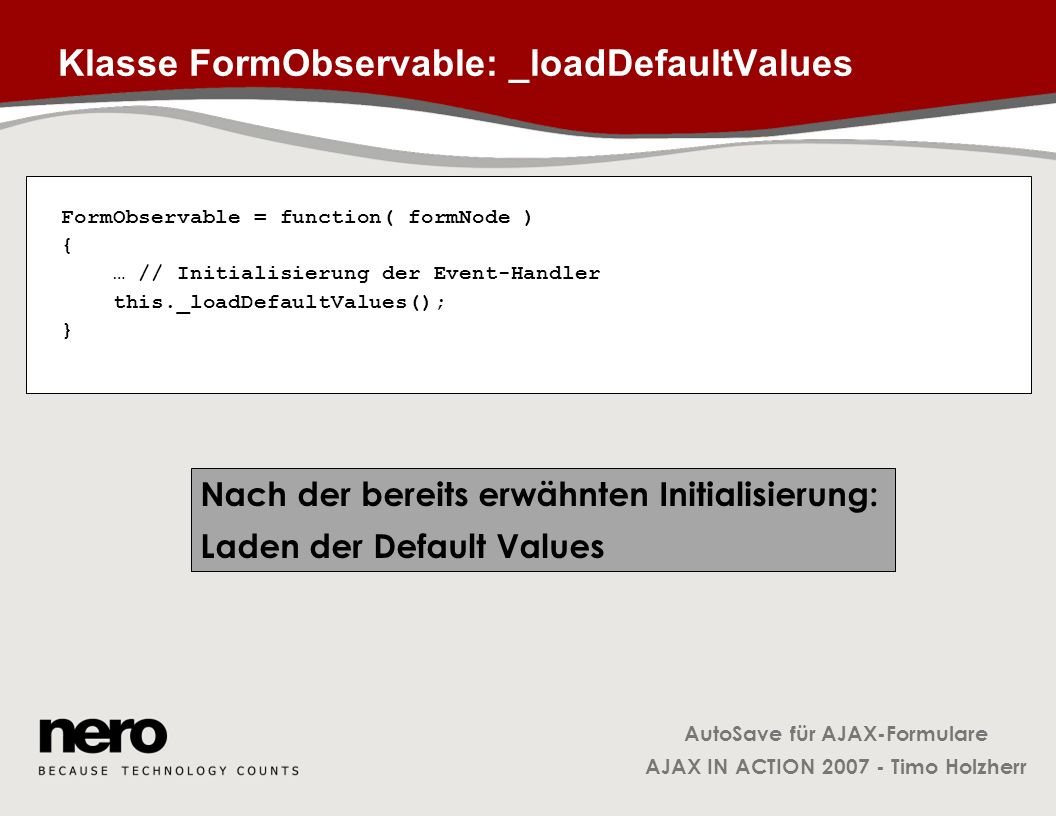 Klasse FormObservable: _loadDefaultValues