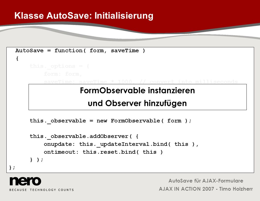 Klasse AutoSave: Initialisierung