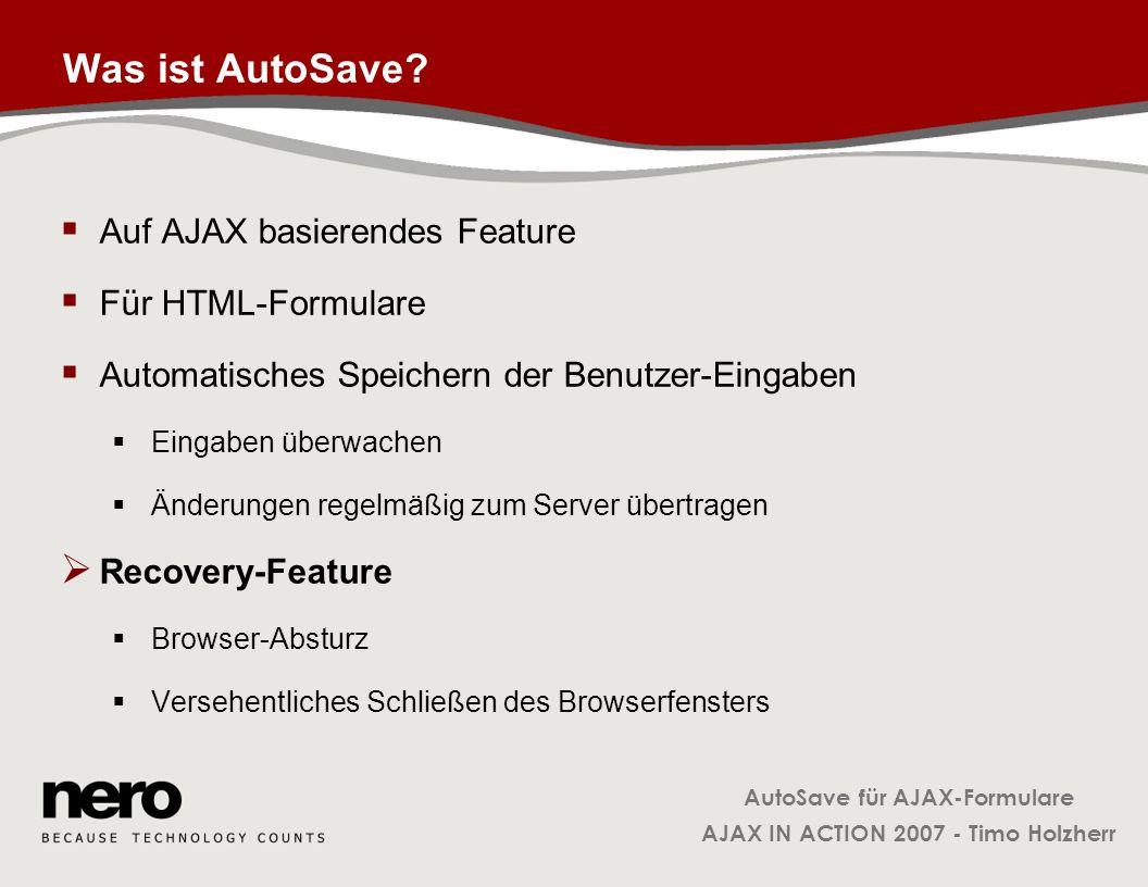 Was ist AutoSave Auf AJAX basierendes Feature Für HTML-Formulare