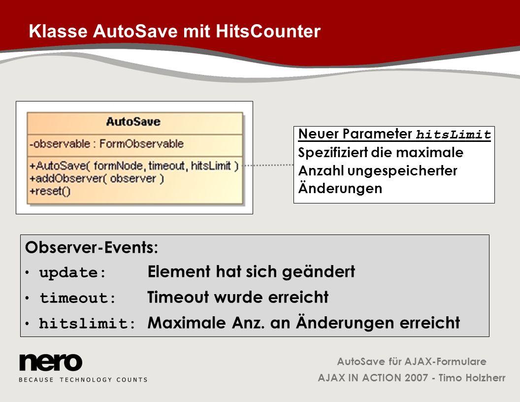 Klasse AutoSave mit HitsCounter