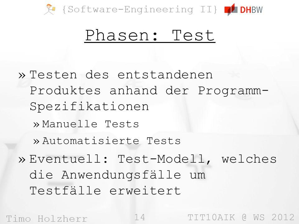 Phasen: Test Testen des entstandenen Produktes anhand der Programm-Spezifikationen. Manuelle Tests.