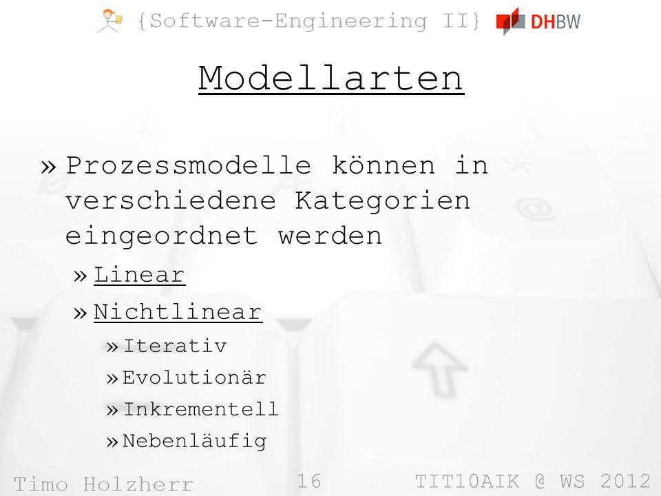 Modellarten Prozessmodelle können in verschiedene Kategorien eingeordnet werden. Linear. Nichtlinear.
