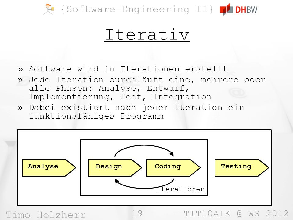 Iterativ Software wird in Iterationen erstellt