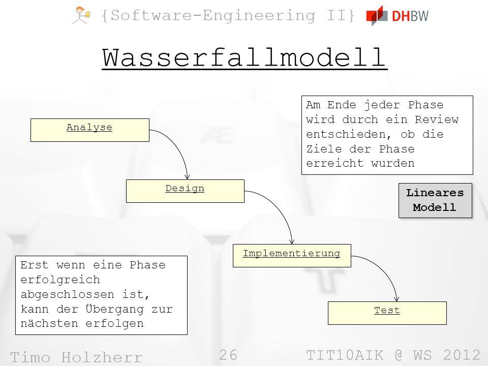 Wasserfallmodell Am Ende jeder Phase wird durch ein Review entschieden, ob die Ziele der Phase erreicht wurden.
