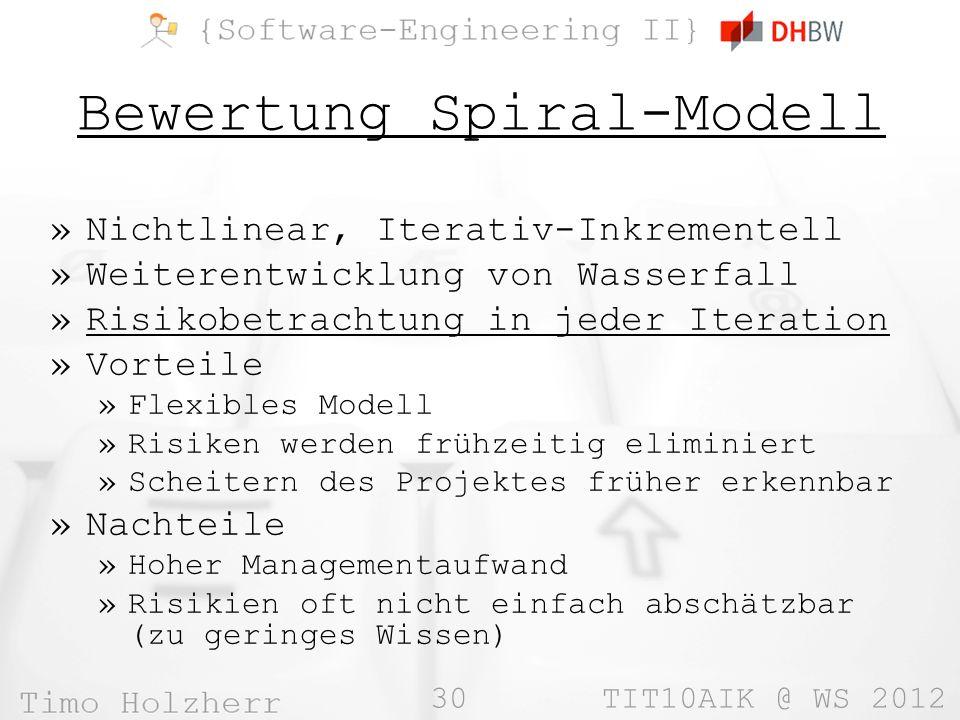 Bewertung Spiral-Modell