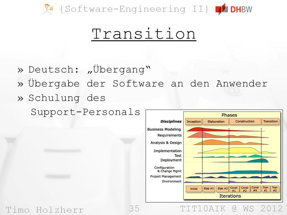 """Transition Deutsch: """"Übergang Übergabe der Software an den Anwender"""