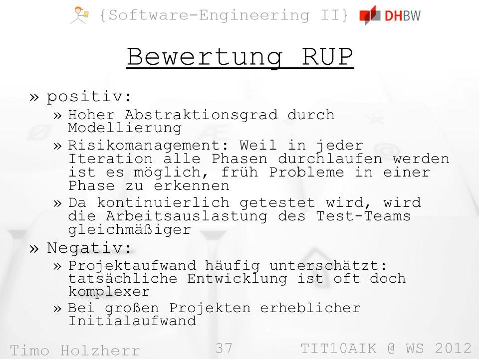 Bewertung RUP positiv: Negativ: