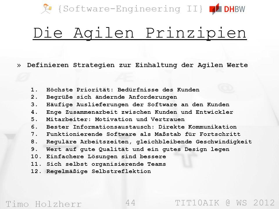 Die Agilen Prinzipien Definieren Strategien zur Einhaltung der Agilen Werte. Höchste Priorität: Bedürfnisse des Kunden.