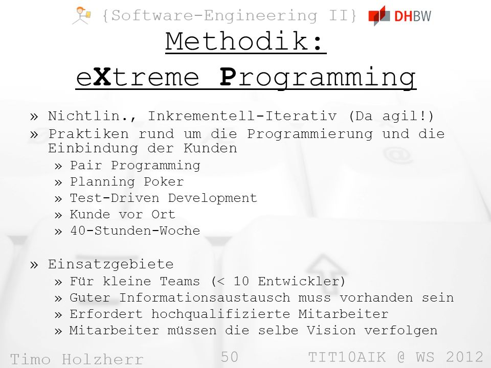 Methodik: eXtreme Programming