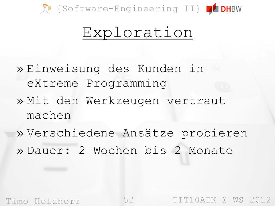 Exploration Einweisung des Kunden in eXtreme Programming