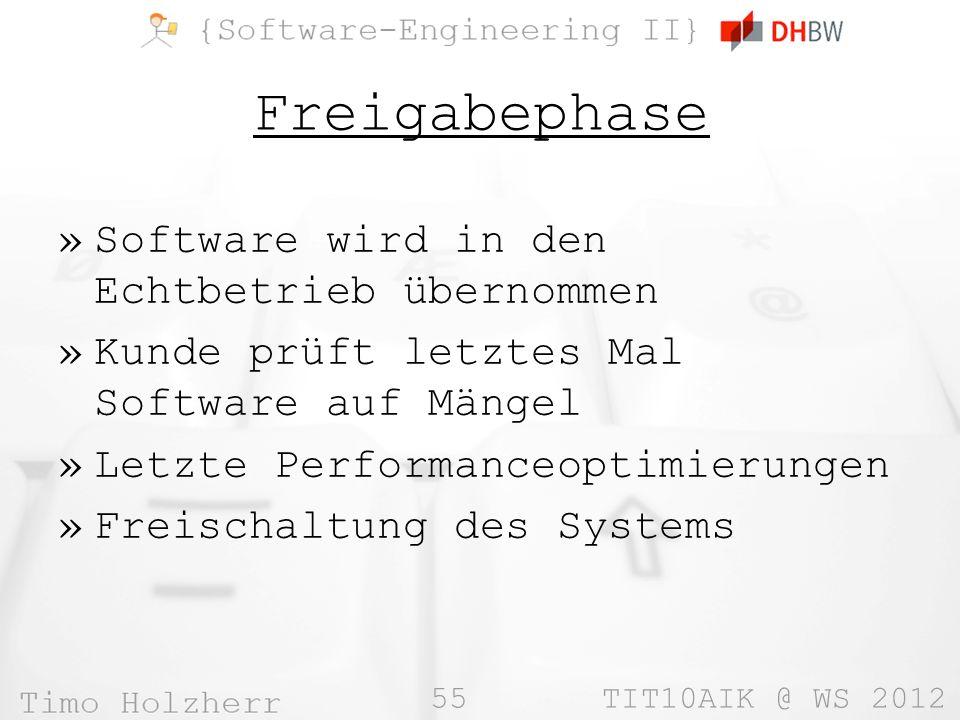 Freigabephase Software wird in den Echtbetrieb übernommen