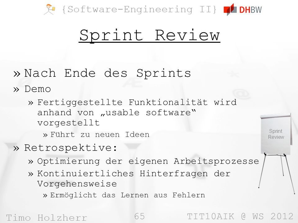 Sprint Review Nach Ende des Sprints Demo Retrospektive:
