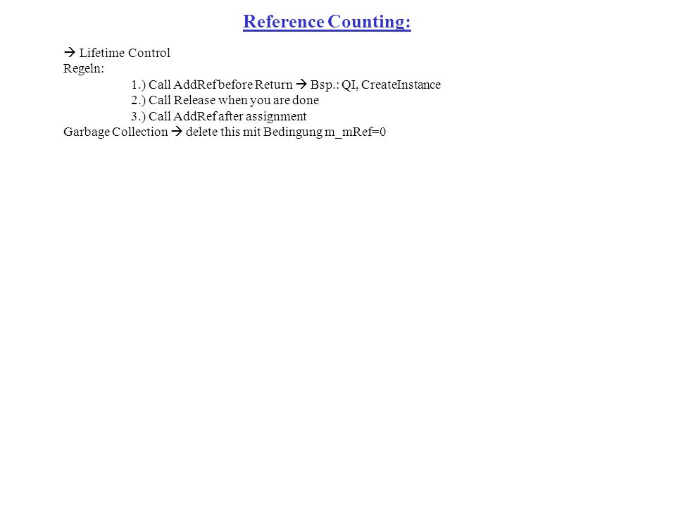 Reference Counting: