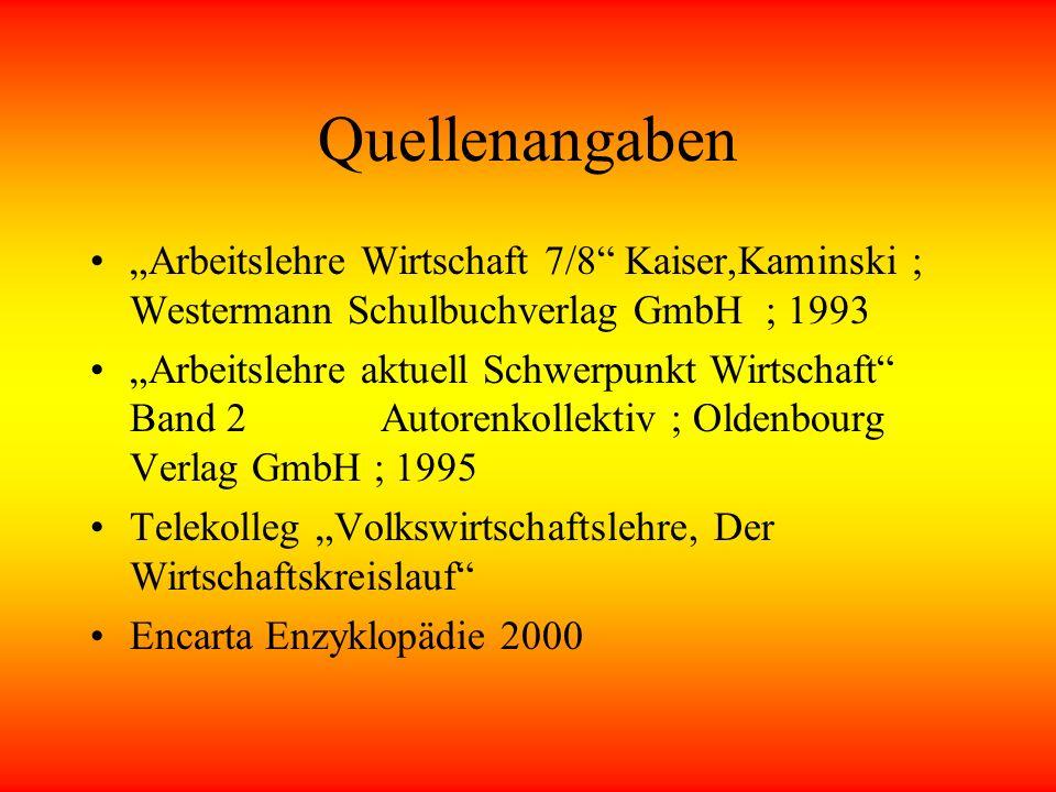 """Quellenangaben """"Arbeitslehre Wirtschaft 7/8 Kaiser,Kaminski ; Westermann Schulbuchverlag GmbH ; 1993."""