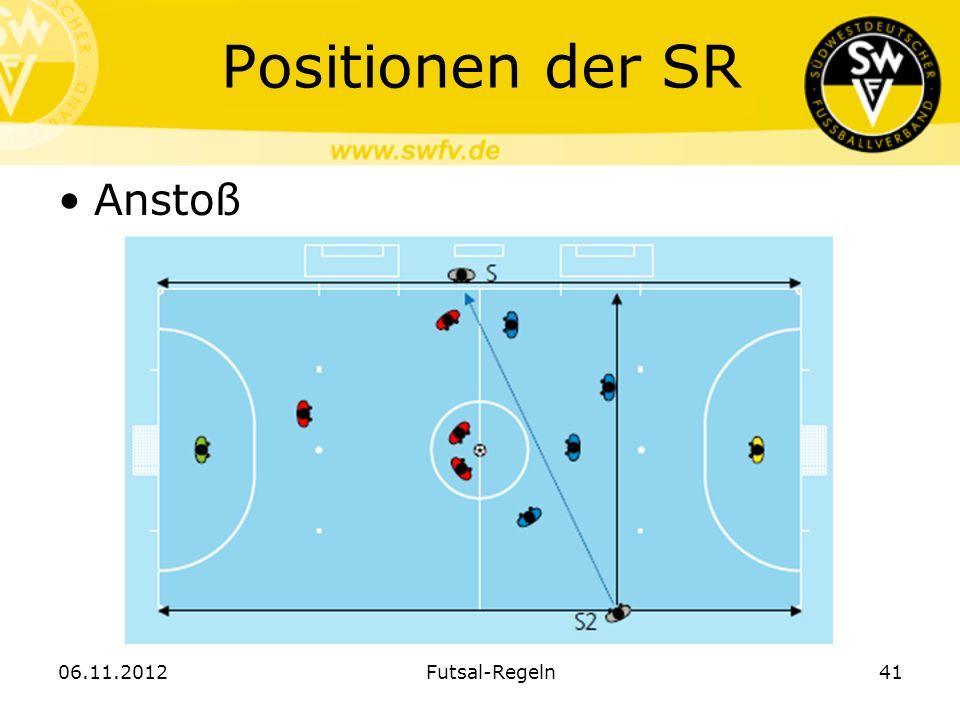 Positionen der SR Anstoß 06.11.2012 Futsal-Regeln