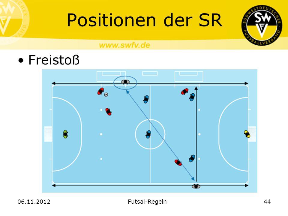 Positionen der SR Freistoß 06.11.2012 Futsal-Regeln
