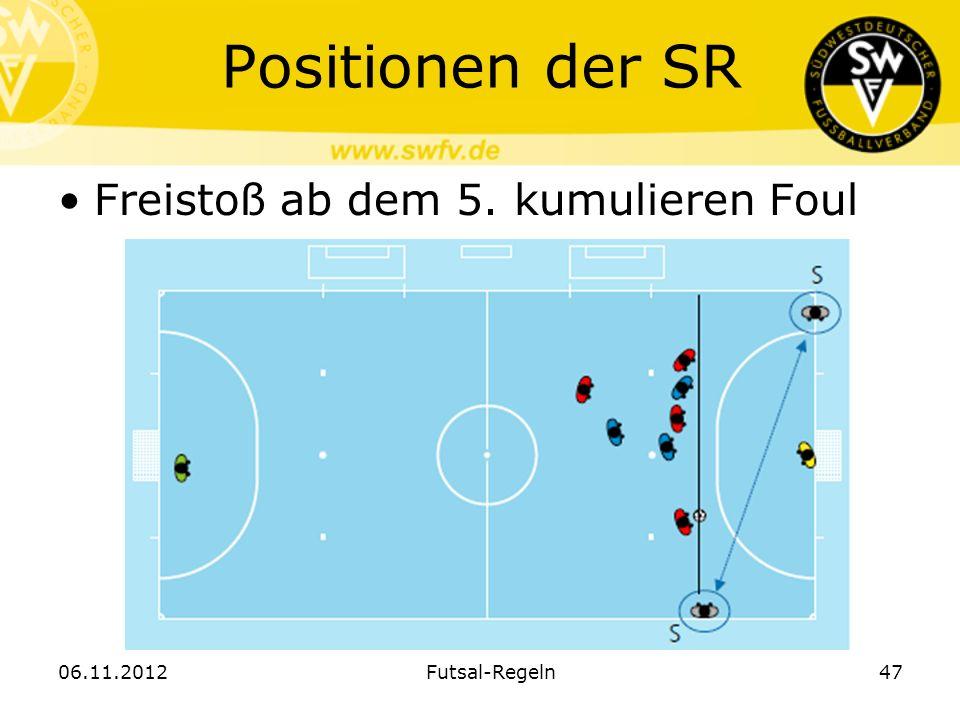 Positionen der SR Freistoß ab dem 5. kumulieren Foul 06.11.2012