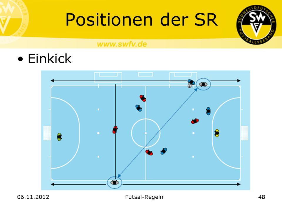 Positionen der SR Einkick 06.11.2012 Futsal-Regeln