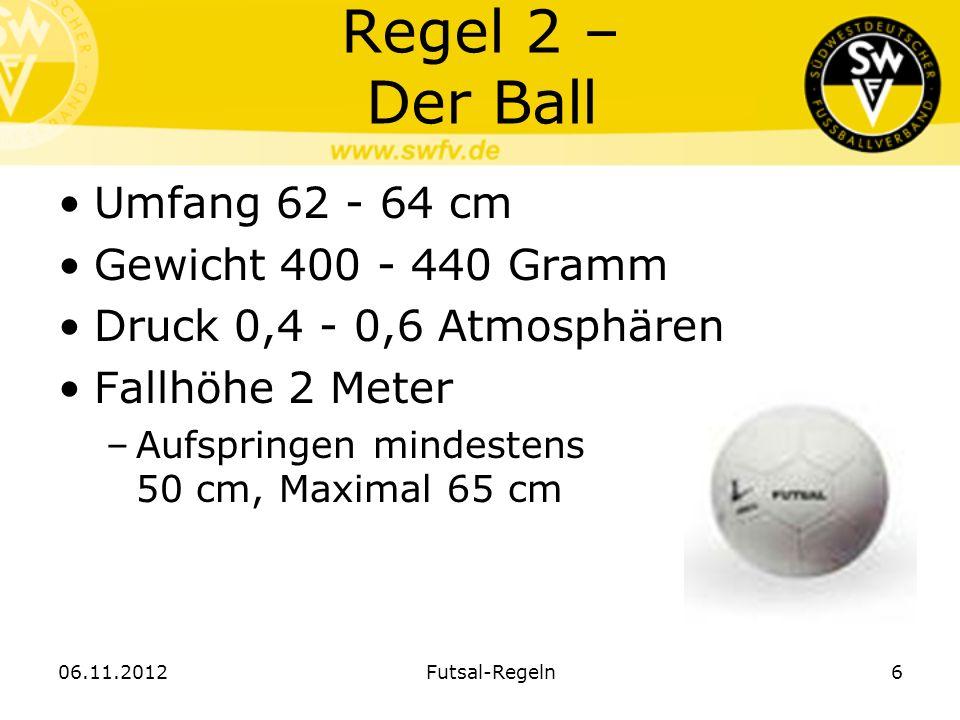 Regel 2 – Der Ball Umfang 62 - 64 cm Gewicht 400 - 440 Gramm