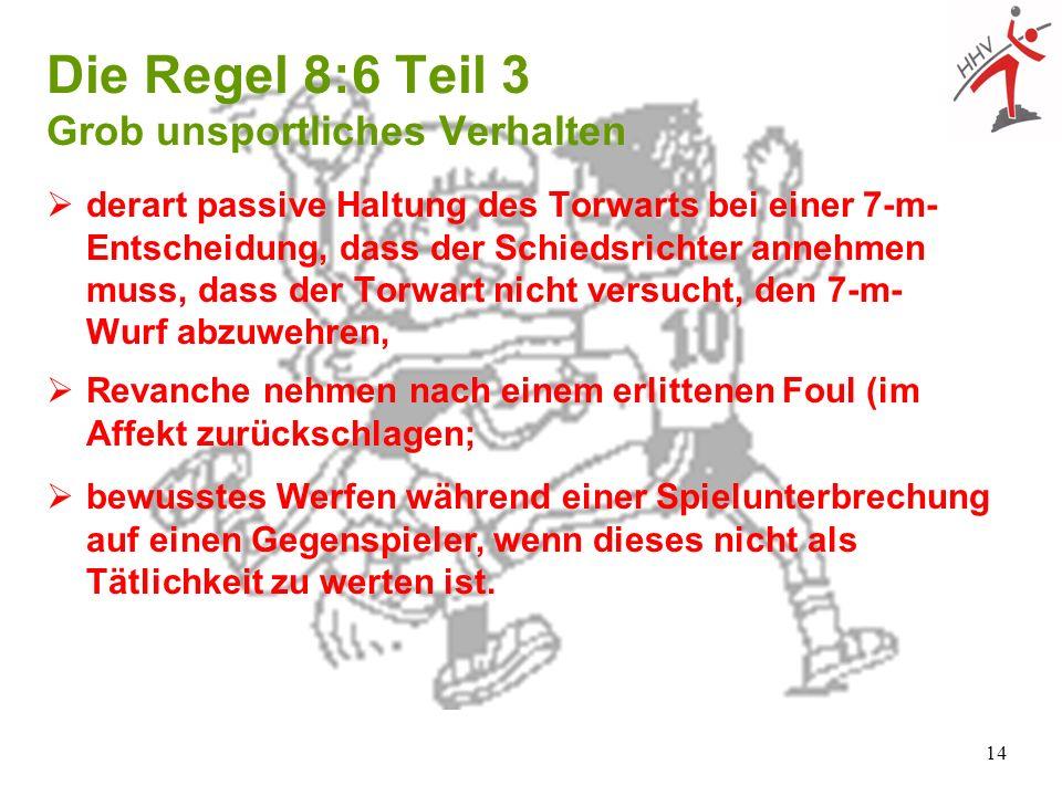 Die Regel 8:6 Teil 3 Grob unsportliches Verhalten
