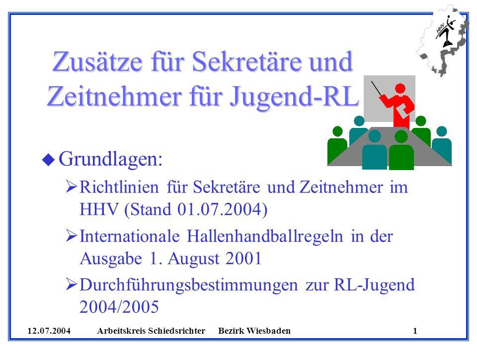 Zusätze für Sekretäre und Zeitnehmer für Jugend-RL