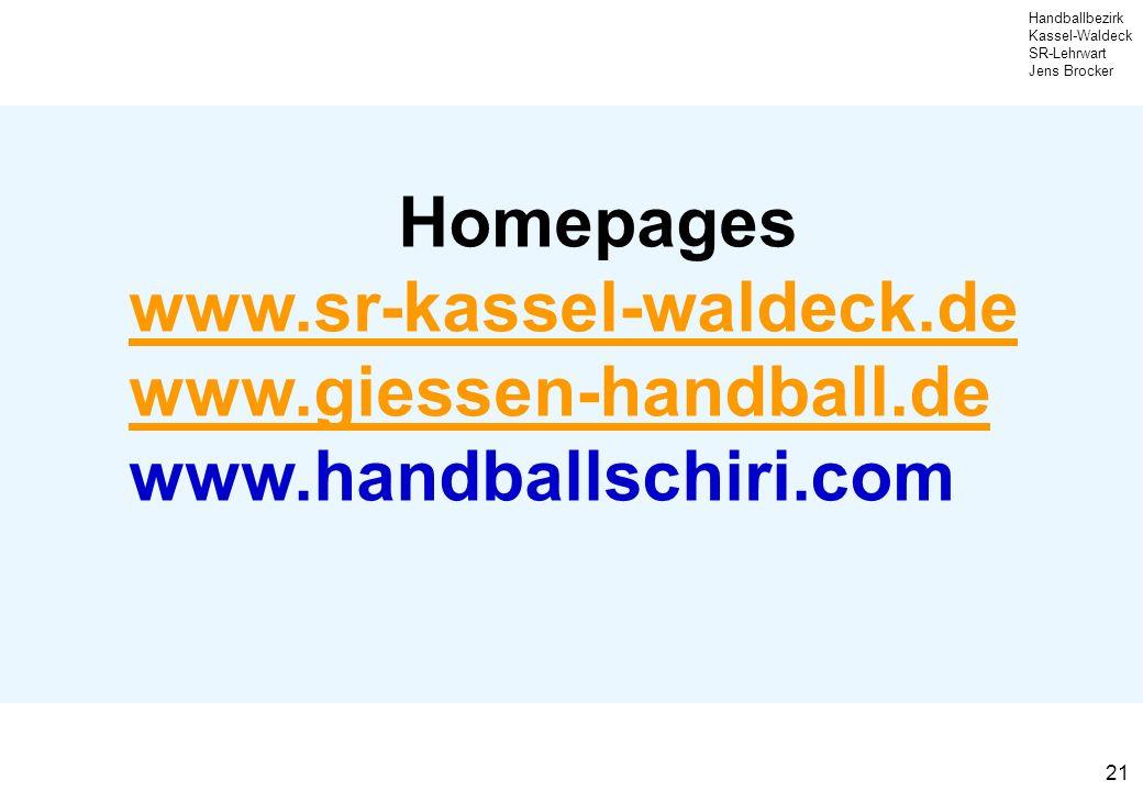 Homepages www.sr-kassel-waldeck.de www.giessen-handball.de