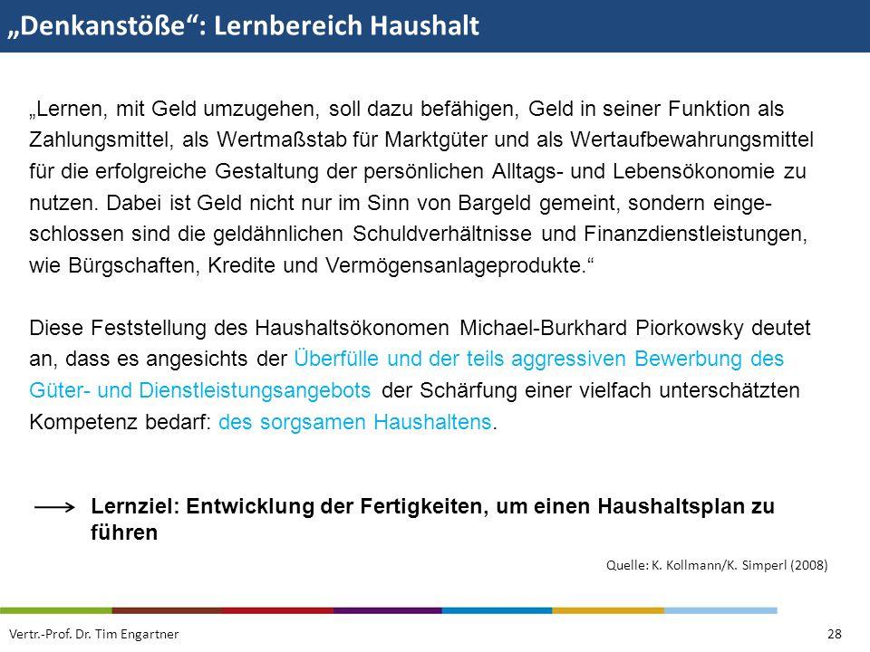 """""""Denkanstöße : Lernbereich Haushalt"""