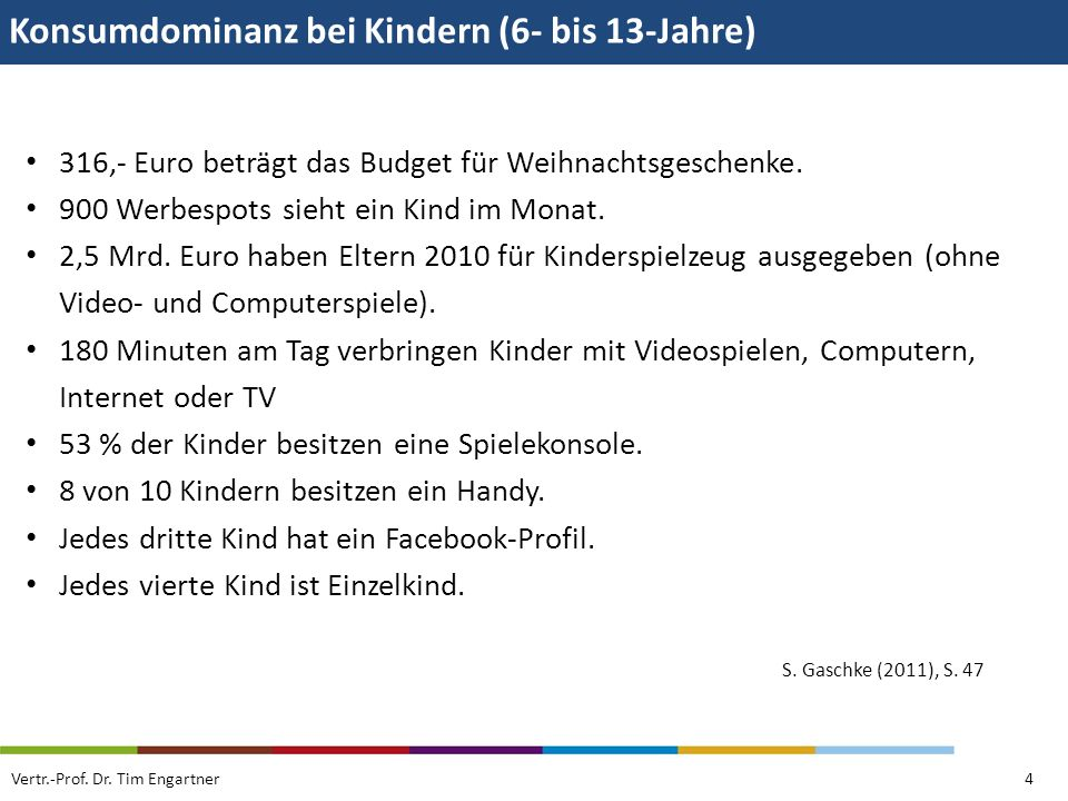 Konsumdominanz bei Kindern (6- bis 13-Jahre)