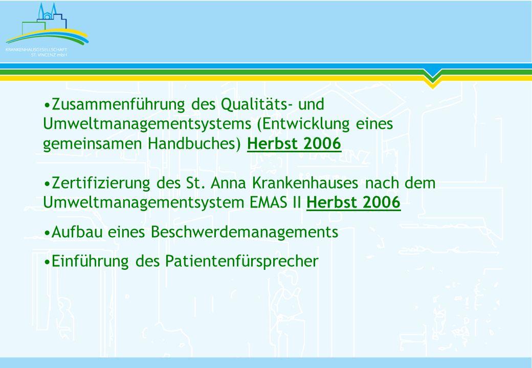 Zusammenführung des Qualitäts- und Umweltmanagementsystems (Entwicklung eines gemeinsamen Handbuches) Herbst 2006