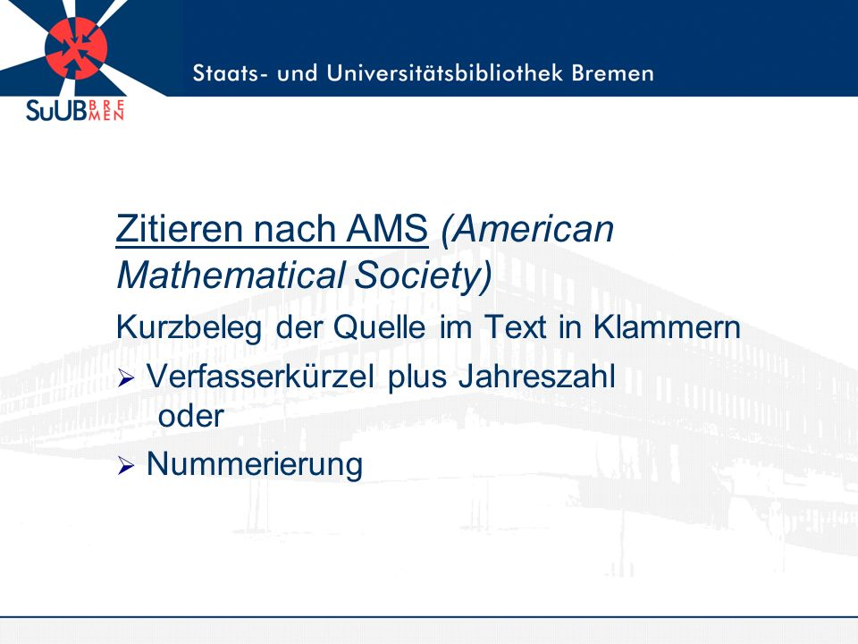 Zitieren nach AMS (American Mathematical Society)