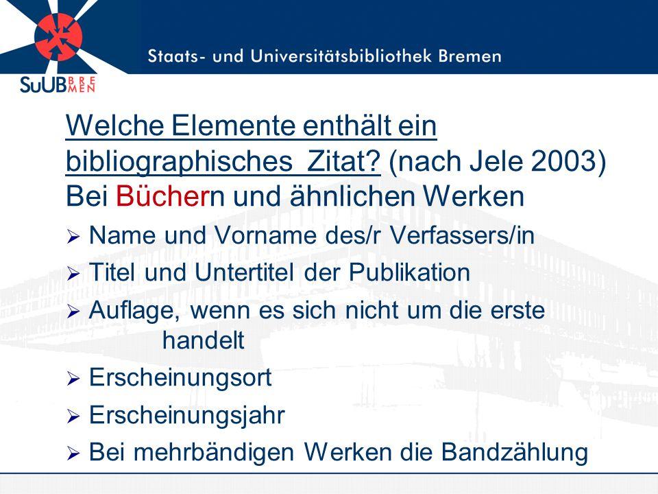 Welche Elemente enthält ein bibliographisches Zitat