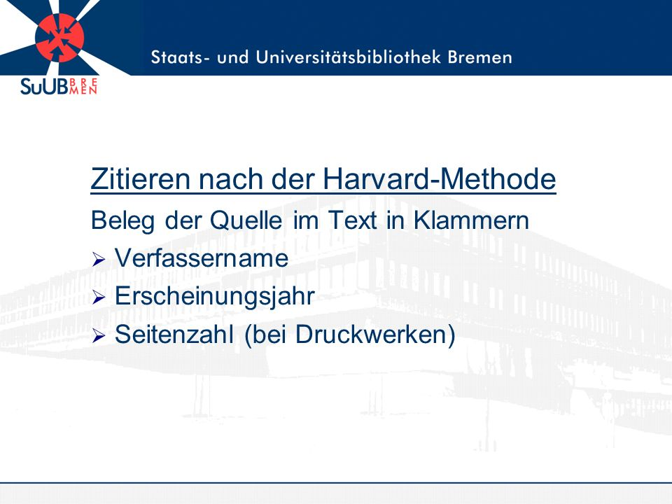 Zitieren nach der Harvard-Methode