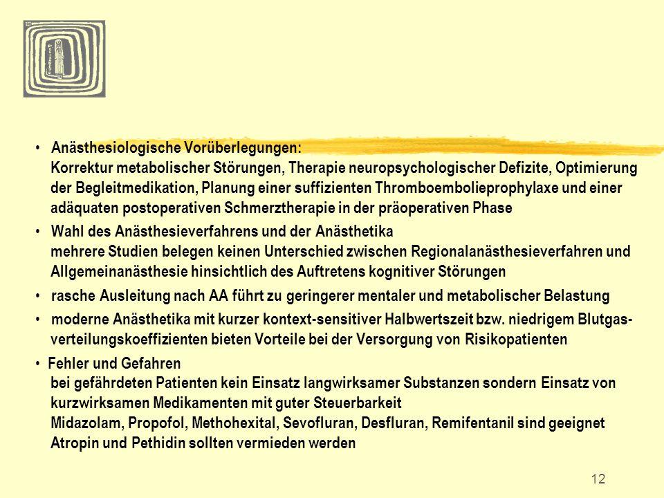 Anästhesiologische Vorüberlegungen: Korrektur metabolischer Störungen, Therapie neuropsychologischer Defizite, Optimierung der Begleitmedikation, Planung einer suffizienten Thromboembolieprophylaxe und einer adäquaten postoperativen Schmerztherapie in der präoperativen Phase