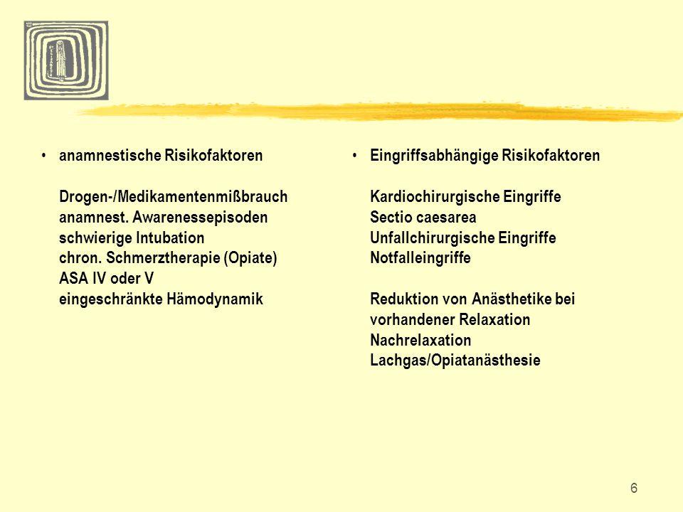 anamnestische Risikofaktoren Drogen-/Medikamentenmißbrauch anamnest