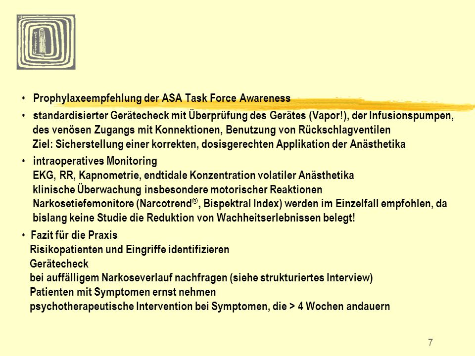 Prophylaxeempfehlung der ASA Task Force Awareness