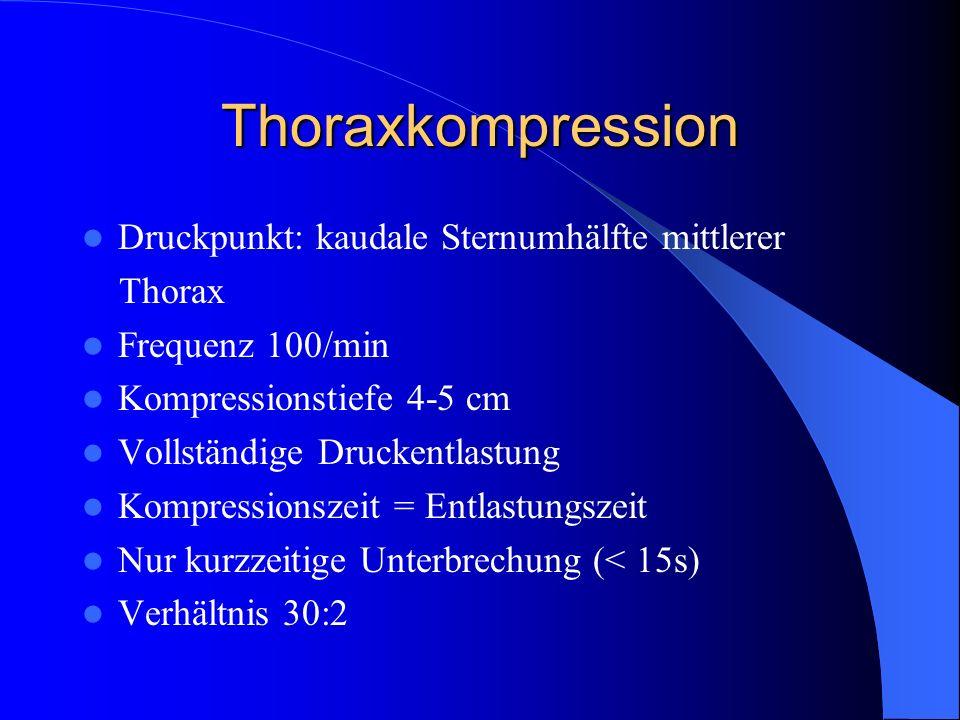 Thoraxkompression Druckpunkt: kaudale Sternumhälfte mittlerer Thorax